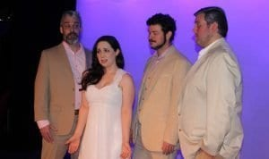 """Photo by Sue Suchyta The Downriver Actors Guild presents the musical """"Mama Mia"""" May 10, 11 and 16 to 19, at the Catherine A. Daly Theatre on the Avenue, 2656 Biddle, Wyandotte, with Leo McMaster (left) of Rockwood as Bill, Ashley Gatesy of Westland as Sophie, Rob Douglas of Brownstown Township as Sam and Sam Ramirez of Wyandotte as Harry. For tickets and more information, call 734-407-7020 or go to downriveractorsguild.net."""