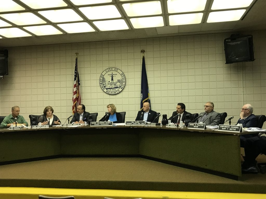 Photo by Zeinab Najm The Dearborn Heights City Council discusses filing a lawsuit against Mayor Daniel Paletko after he declined to sign an order that would hire a local law firm to conduct a forensic audit over $1.4 million in missing PEG funds.