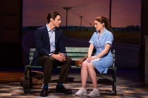 "Photo by Philicia Endelman ""Waitress"" plays at the Fisher Theatre through May 19, with Steven Good (left) as Dr. Pomatter and Christine Dwyer as Jenna. For tickets and more information, call 800-982-2787 or go to broadwayindetroit.com or ticketmaster.com."